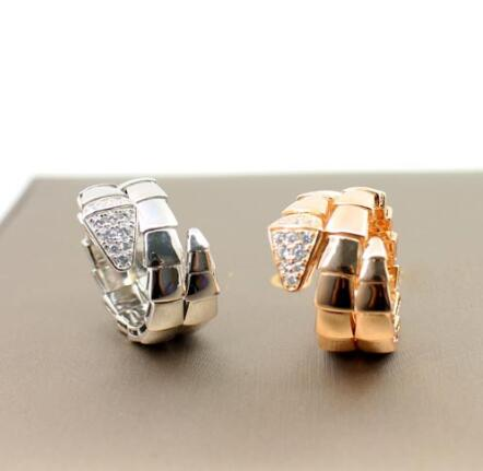 Boutique jewelry S925 pure silver three ring snake ring snakehead rhinestone snake ring personality jewelry