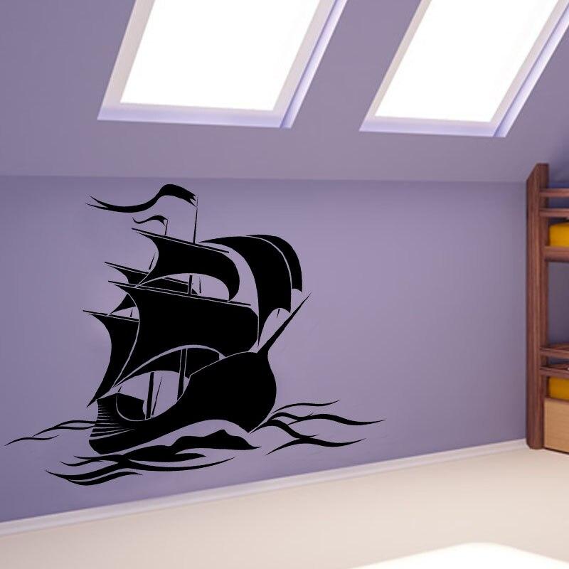 Hot Sale Anime Wallpaper Baby Bedroom Vinyl Art Wall Sticker Pirate Ship DIY Removable Home Decor