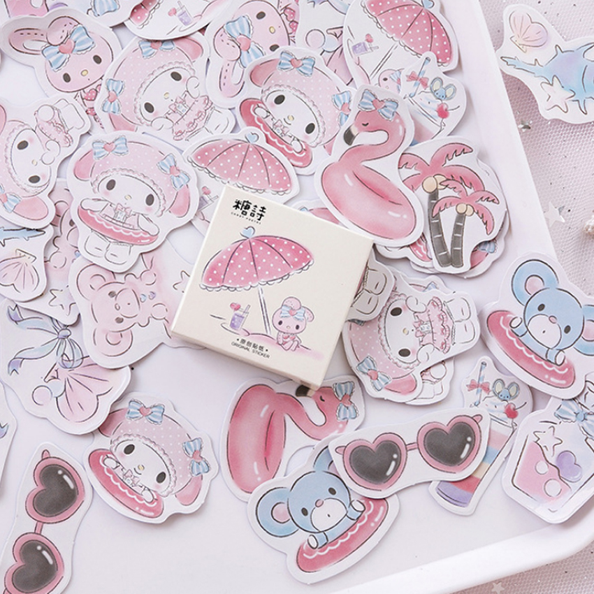 45Pcs/box Lovely Seaside Holiday Mini paper sticker DIY Diary Scrapbooking Decorative Stickers Stationery