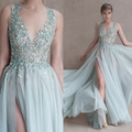 Paolo Sebastian Prom Dresses Long with Deep V Neck Lace Appliques Beading Sequins Side Slit Evening Dresses Vestidos