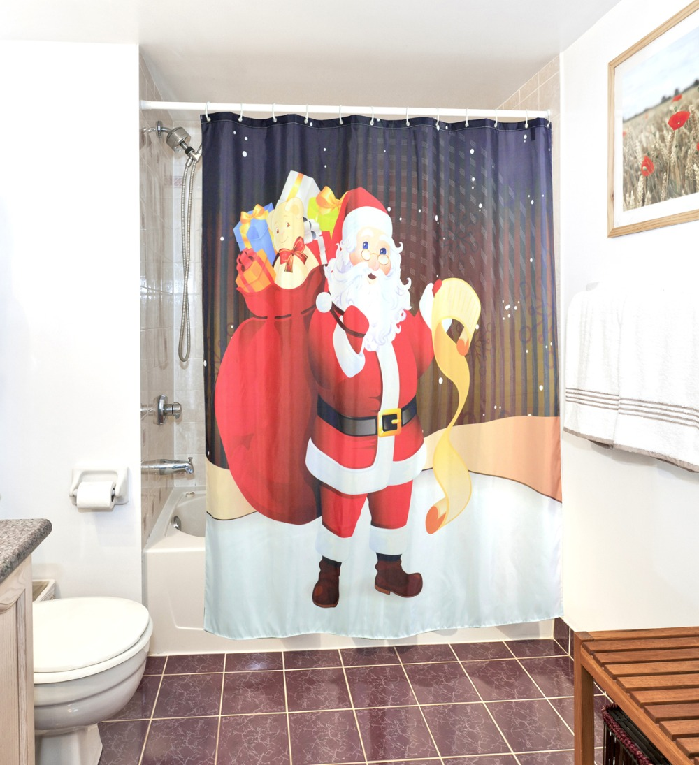 3D Christmas Shower Curtains Waterproof Polyester Bathroom Fabric ...