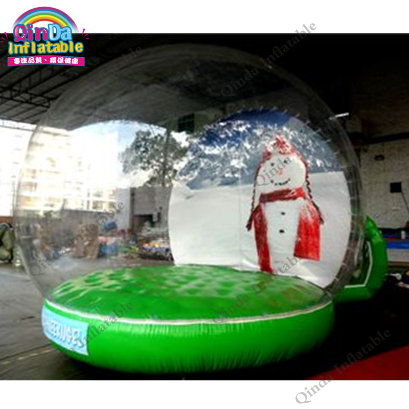 Christmas advertising product inflatable snow tube tent, inflatable transparent snow ball with 2m entrance 3m diameter empty inflatable snow ball for advertisement christmas decorations giant inflatable snow globe