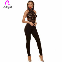 Black Elegant Embroidery Sheer Mesh Off Shoulder Romper Workwear Sleeveless Straight Leg Jumpsuit Summer Fashion Women Jumpsuits