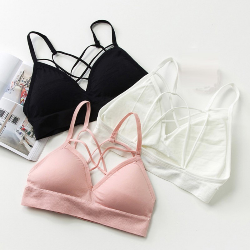 New Womens Cross Strappy Bra Camis Crop Tops Bustier Padded Bralette Knitted Tops 2018