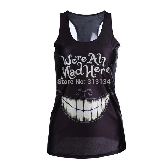 1pc New 2015 women summer 3d vests,Multi-Color Gothic Punk Clubwear T-Shirt Print Tank Top Vest Blouse,Sexy fashion summer tops