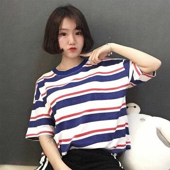 a647d6b3c Coreano o-Cuello T camisa mujeres Arco Iris rayas Tops Harajuku camiseta  2019 de verano de manga corta casual Punk camisetas camiseta femenina