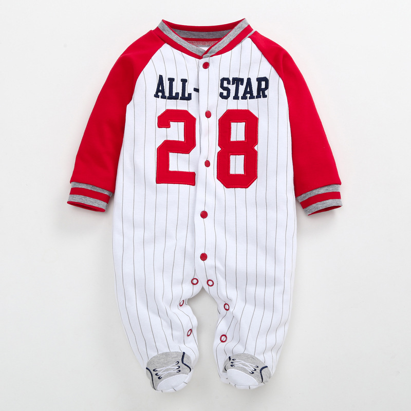 2019 Newborn Footed baby   romper   Spring Autumn All star baseball cartoon infant clothing jumpsuit Cotton Baby sleepwear