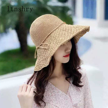 2019 new Summer hand made high quality Raffia women hat Bow sun Visor Beach holiday Bucket cap Foldable printing
