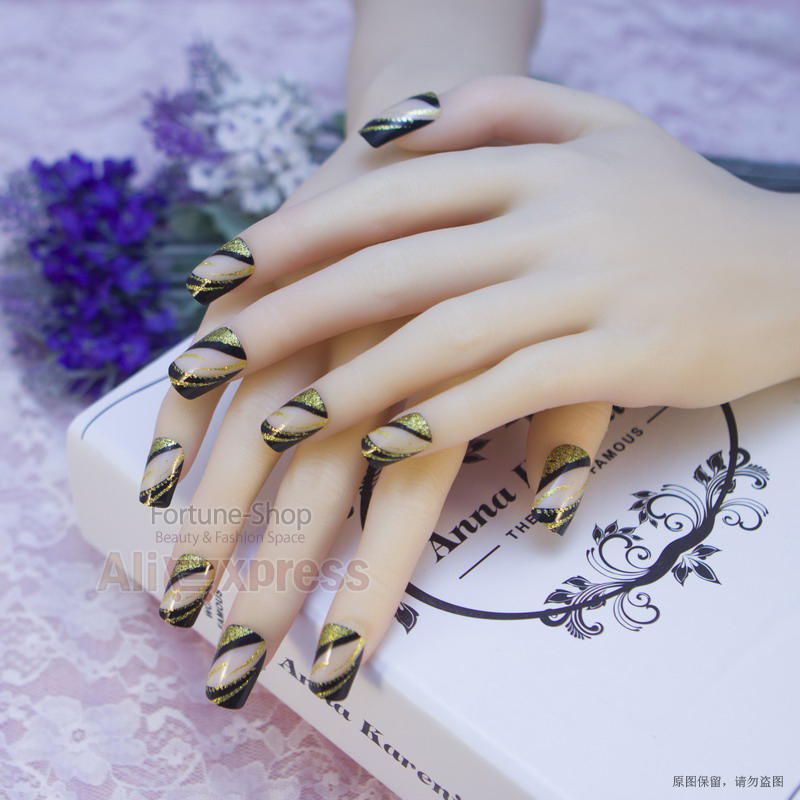 JQ 24 PCS Acrylic Nails Pre Designer Nail Art Tips False French ...