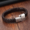 XQNI Top Quality 3 Color Braided Genuine Leather Bracelets for Men Women Stainless Steel Bangle&Bracelet Fashion Men Jewelry
