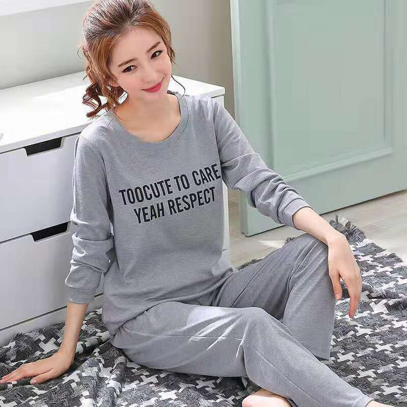 2019 Women long sleeved   pajamas     set   Spring and autumn girls cartoon sleepwear lady letter print homewear free shipping