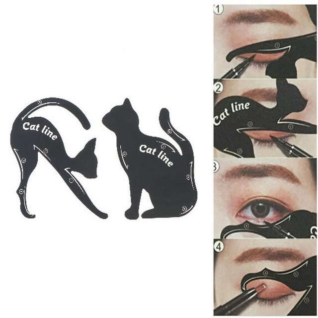 2pcs/set Cat Line Stencils Eye Makeup Eyeliner Eyeshadow Plastic Template Kit Eyebrow Model Fuctional Design Cosmetic Tool