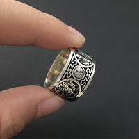 Solid Silver 925 Ring Men 12mm Wide Band Carved China Dragon Tiger Bird Bagua Cool Fahsion