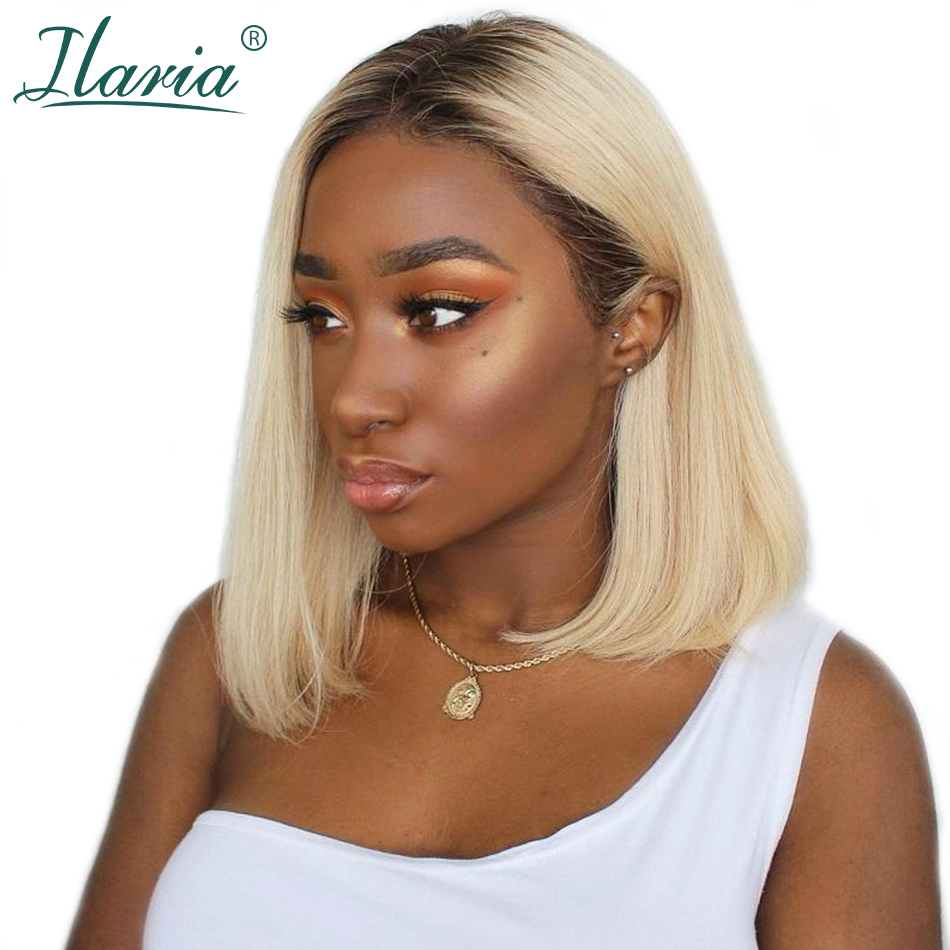 HTB1ypSWXtzvK1RkSnfoq6zMwVXaV Blonde Lace Front Human Hair Wigs For Black Women Pre Plucked Short Bob Wig Dark Roots 1B 613 Human Wig With Baby Hair Ilaria