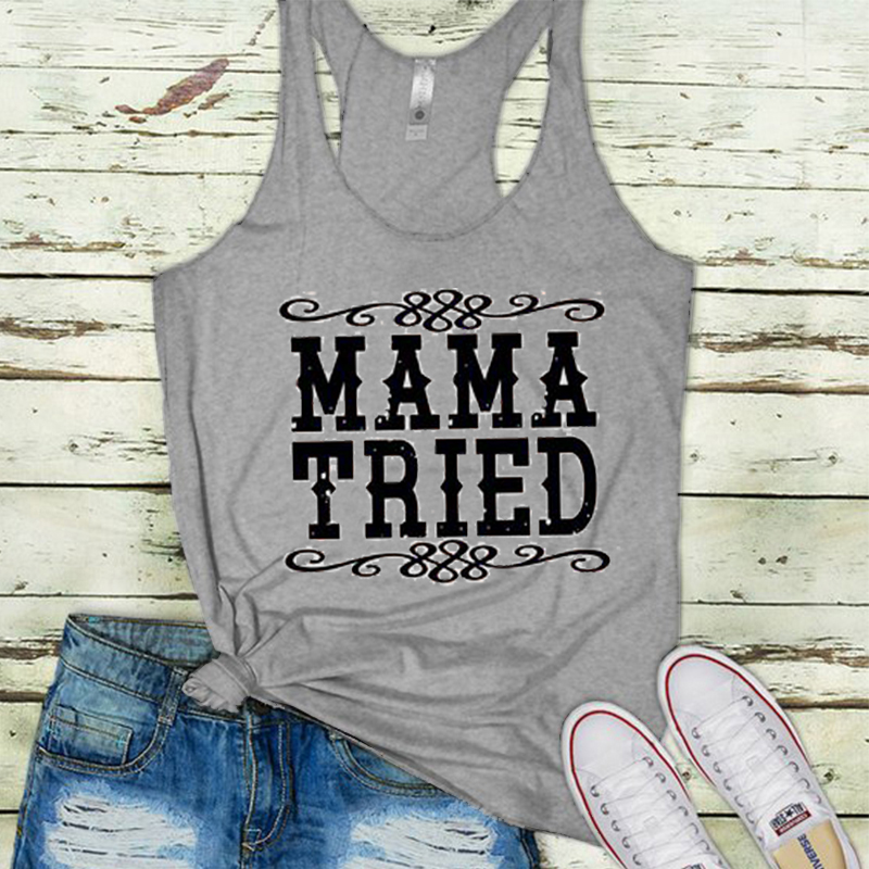 2019 mama tried tank country girl tanks country music festival tops rodeo top drinking streetwear print harajuku woman clothes in Tank Tops from Women 39 s Clothing