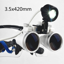 Dental Loupes Surgical Binocular Glasses 3.5 x 420mm + LED Head Light Portable Black 188033