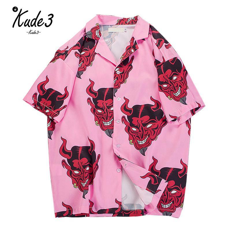 Hip Hop Streetwear Shirts Men Devil Full Printing Short Sleeve Summer Floral Rapper Harajuku Loose Hawaiian Korean Shirts  S3615