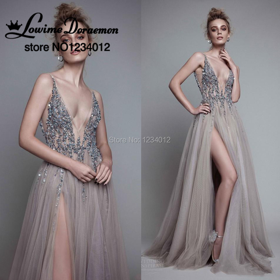 ec053d4f019 2017 New Arabic Pearls Prom Dresses Beading Crystal Formal Gowns The great  Gatsby Puffy Ruched Side Slit Beach Evening Dress-in Prom Dresses from  Weddings ...