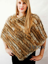 Classic Womens Real Knitted Rabbit Fur Shawl Lady Fashion Real Fur Ponchoes Casual Pashmina Good Quality LX00100