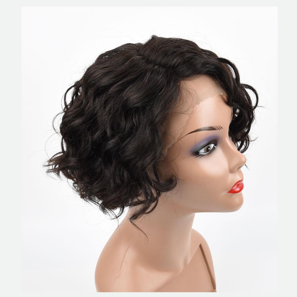 TIANTAI Short Bob Curly Human Hair Wigs Part Lace For Women Brazilian Remy Natural Color Human Hair Wigs Part Lace Front wig
