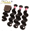 Aliexpress Cheap Peruvian Body Wave With Cosure 4*4 Lace Closure With Bundles Nadula Hair 7a Peruvian Virgin Hair With Closure