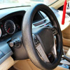 Luxury Delicate Viscose Carved Car Steering Wheel Cover Black PU Leather Protection Auto Supplies 38cm Four