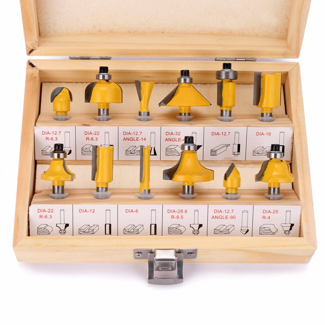 12pcs 1/4 inch Shank Carbide Steel Flush Trim Router Bit Set Woodworking Milling Cutter Power Tools with Wooden Box 16pcs 14 25mm carbide milling cutter router bit buddha ball woodworking tools wooden beads ball blade drills bit molding tool