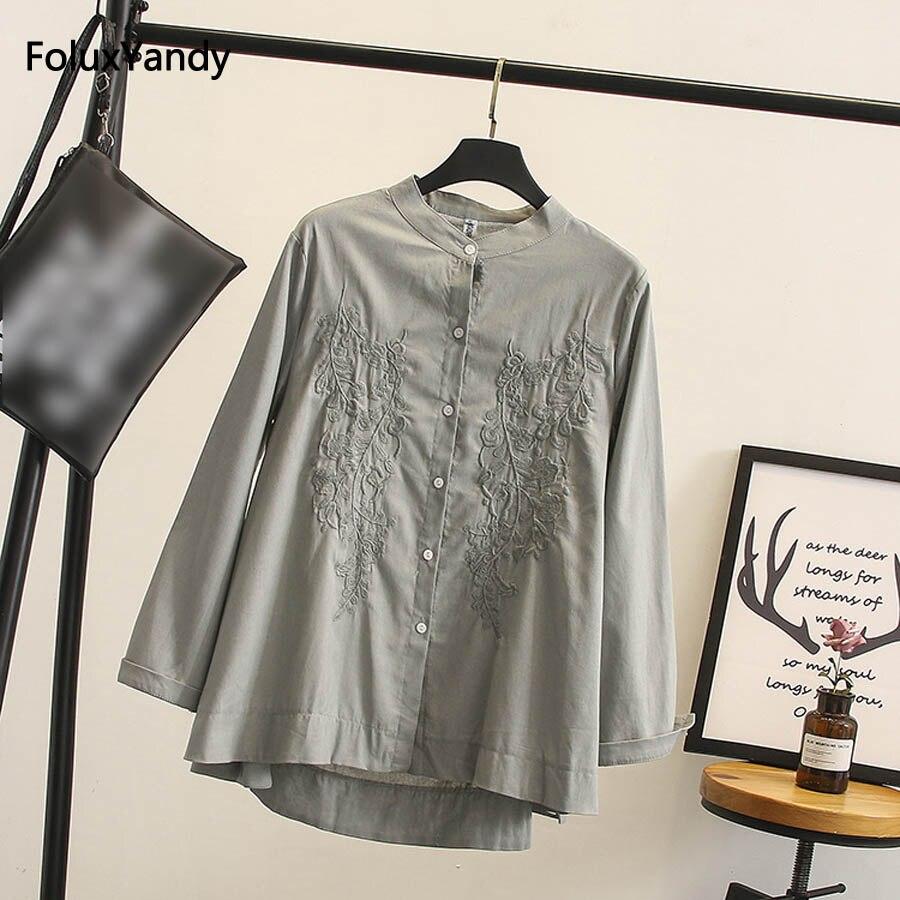 blanc Chemises La Blouse Chemise O Broderie À Occasionnel Plus Longues Femmes Gris Kkfy2182 jaune Automne cou Taille Manches U4O8qaw