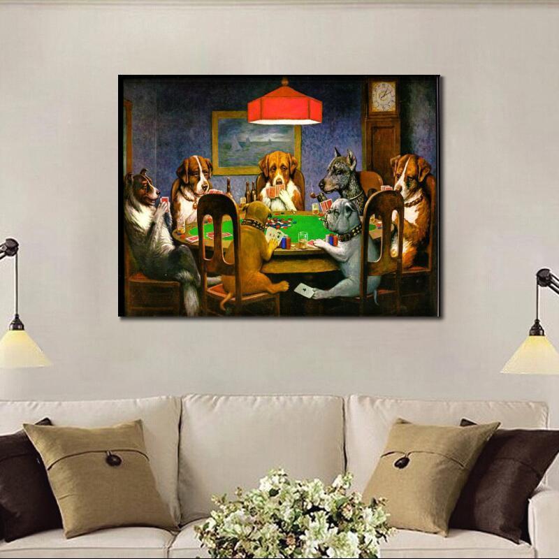 Կտավ արվեստի յուղաներկ շներ Playing Poker by - Տնային դեկոր - Լուսանկար 2