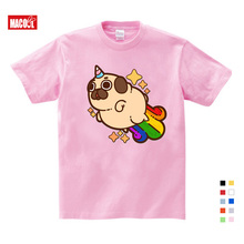 Girls Clothes for Summer T-shirt 3-12Y O-Neck Short Pink T Shirt Pet dog Cartoon Graphic Girls Baby cotton unicorn girl shirt стоимость