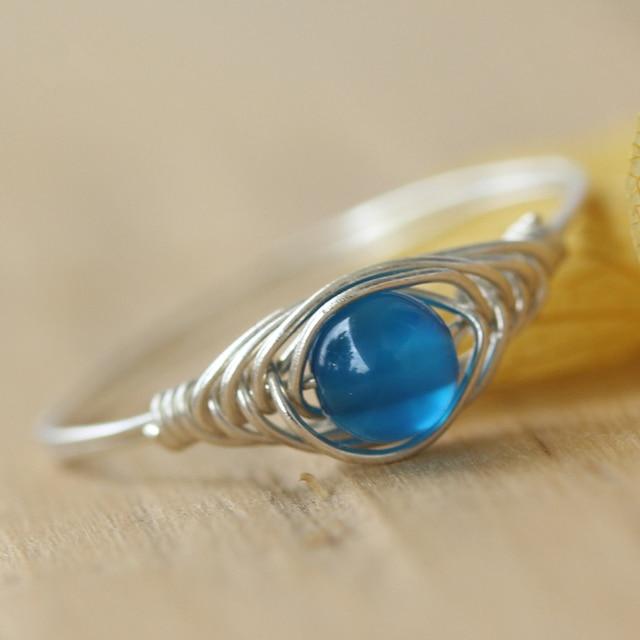 Ring 2 stücke blue Bead Schmuck Perle ring set Handmade Draht ...