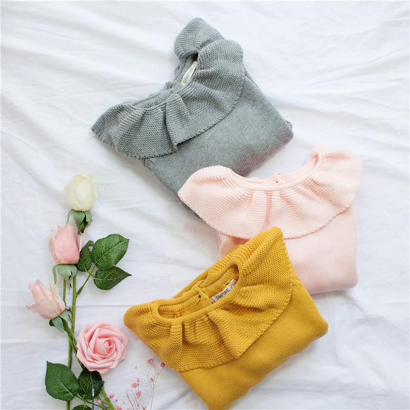EnkeliBB Cute Solid Ruffle Collar Sweater Kid Winter Warm Sweater Toddler Girls Korea Style Long Sleeve Crochet Tops