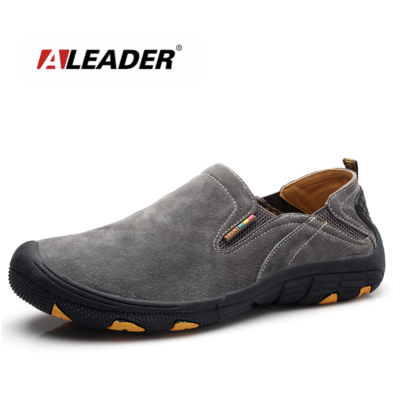 ALEADER Slip On Men Shoes 2017 Leather Mens Casual Shoes Outdoor Men Moccasin Loafers Suede Leather Shoes sapato masculino vesonal 2017 top quality lycra outdoor ultralight slip on loafers men shoes fashion stripe mens shoes casual sd7005