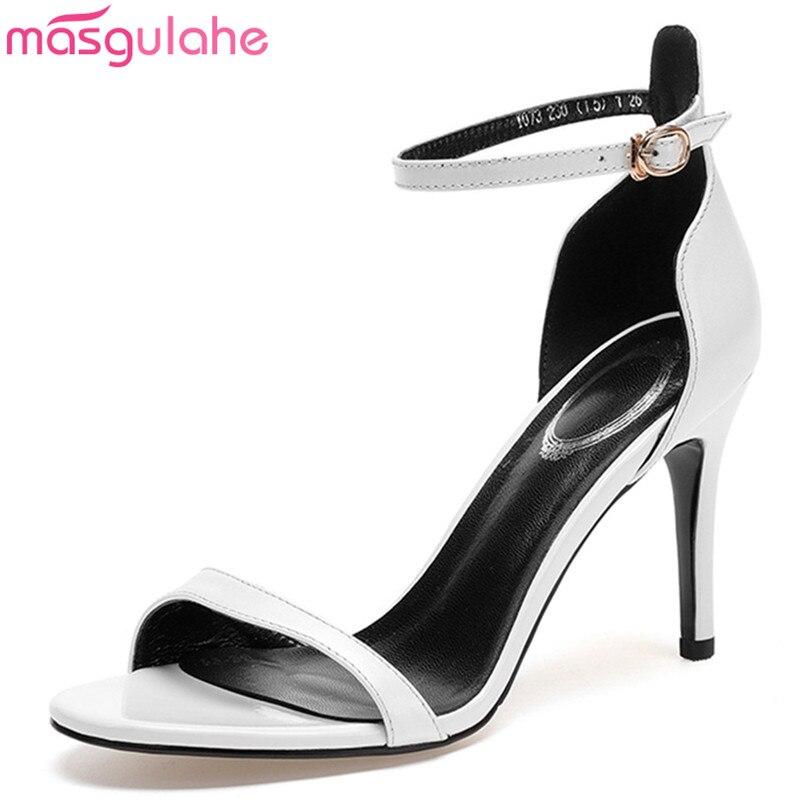 e037e8a10be67 Negro Blanco Masgulahe Moda Tacón Sandalias Cuero Heel Hebilla De Alto Thin  Genuino Zapatos Mujer white Negro Nueva Verano qwR1Bwa