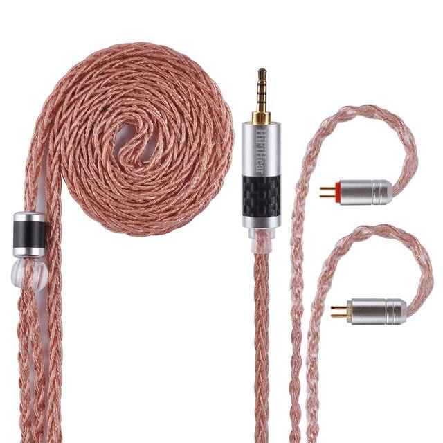 Alliage à 8 noyaux hifi980 avec câble en cuivre pur câble équilibré 2.5/3.5/4.4mm avec connecteur MMCX/2pin pour LZ A6 AS10 ZS10 ZS6 AS10
