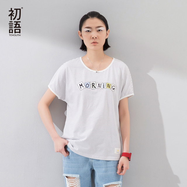 Toyouth Summer Hot Selling Women T-Shirts Fashion Letter Print Stripe Cotton Casual Loose Tees Female Short Sleeve O-Neck Tops