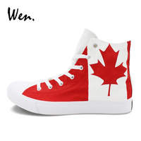 Wen Original Design Canada Flag Hand Painted Canvas Shoes Man Woman S Sports Sneakers High Top