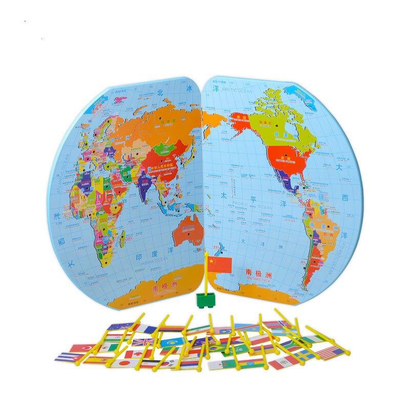 En bois Montessori Matériaux Montessori Carte Du Monde de L'éducation Géographie Bébé Jouets D'apprentissage Pour Les Enfants Juguetes Brinquedos MG2164H