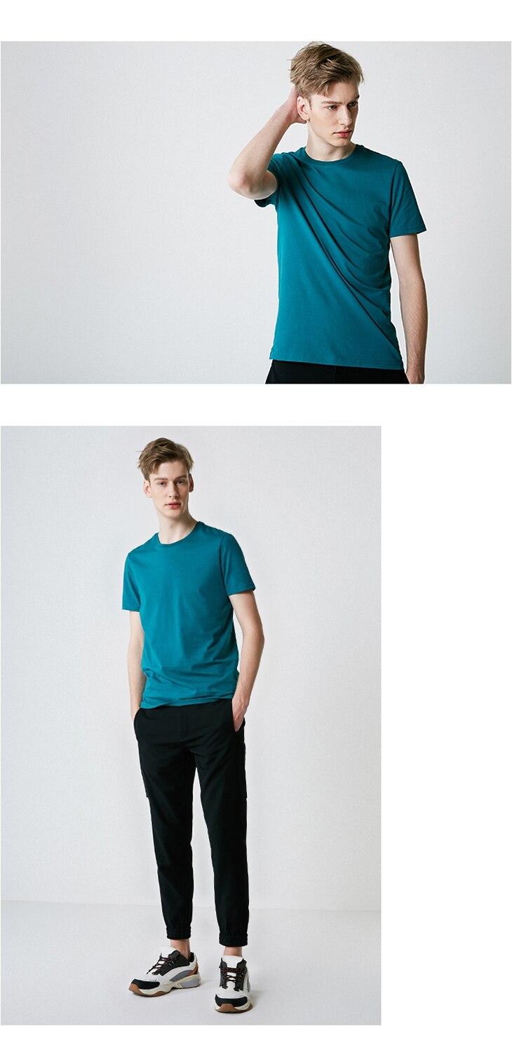Men's Summer 100% Cotton Pure Color Round Neckline Short-sleeved T-shirt 38
