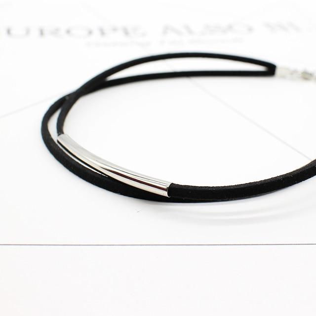 Bending tube Velvet Choker Double layer Style Torque Black Short Leather Necklace 4