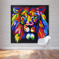 1 Piece Colorful Lion King Oil Painting Printed On Canvas Animal Art Prints Posters Wall Art Spray Painting Unframed