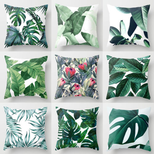 Fashionable Vintage Green Leaves Throw Pillow Case High Quality Polyester Pillowcase Use In Home Bedroom Living Room Office HOT