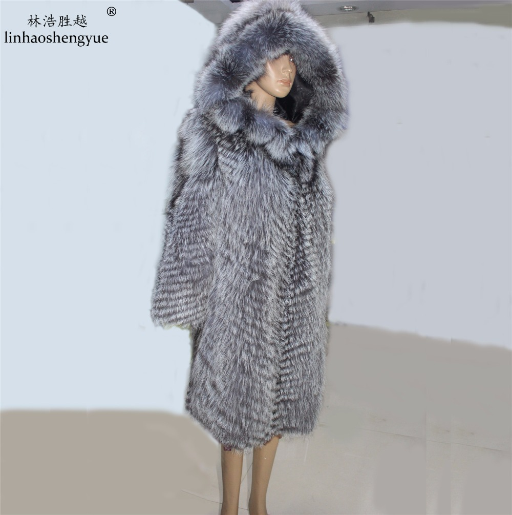 Linhaoshengyue abrigo de pieles de moda real piel zorro mujeres Abrigo con capucha envío gratuito Natural zorro de plata