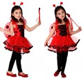 Free Shipping Christmas Halloween Carnival Costumes for Kids Children Girls Ladybug Fairy Cosplay Clothes Princess Fancy Dress