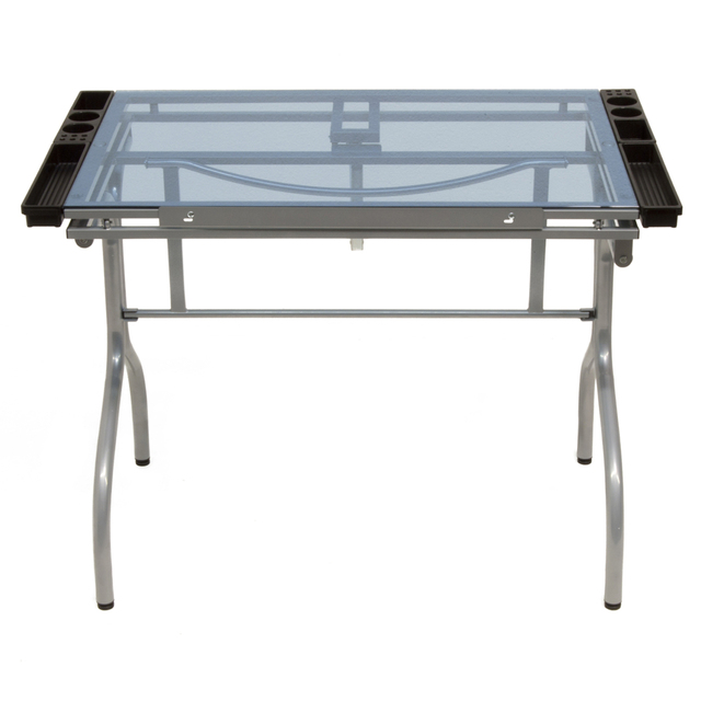 Craft Accents Offex Artists Tempered Glass Top Folding Craft Station    Silver