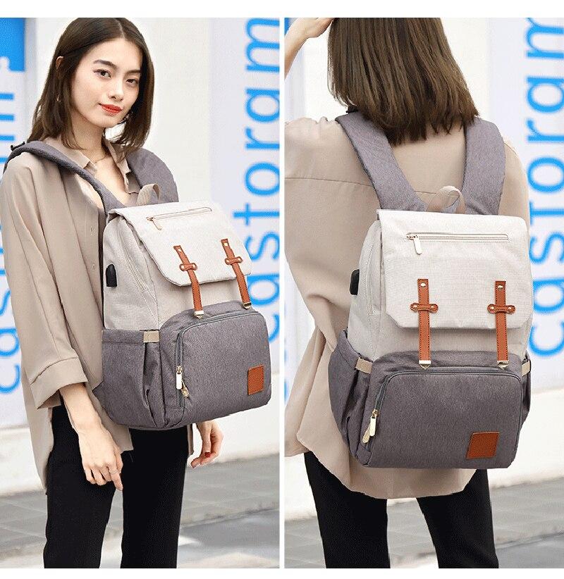 Diaper Bag Mummy Daddy Backpack Baby Stroller Bag Waterproof Oxford Handbag Nursing Nappy Kits Maternity Bag USB Warmer Holder