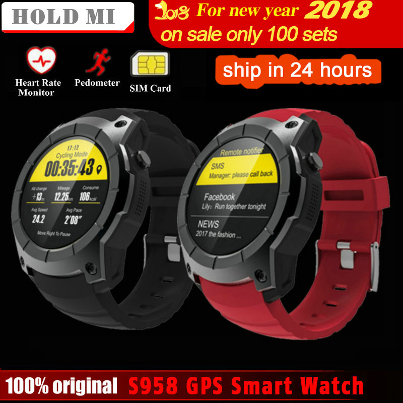 Hold Mi S958 GPS Smart Watch Heart Rate Monitor Sport Waterproof SIM Card Support Bluetooth 4.0 Smartwatch for Android IOS Phone crcular shape no 1 d5 android 4 4 bluetooth gps smart watch with heart rate monitor google play gps 4g rom 512m ram smartwatch