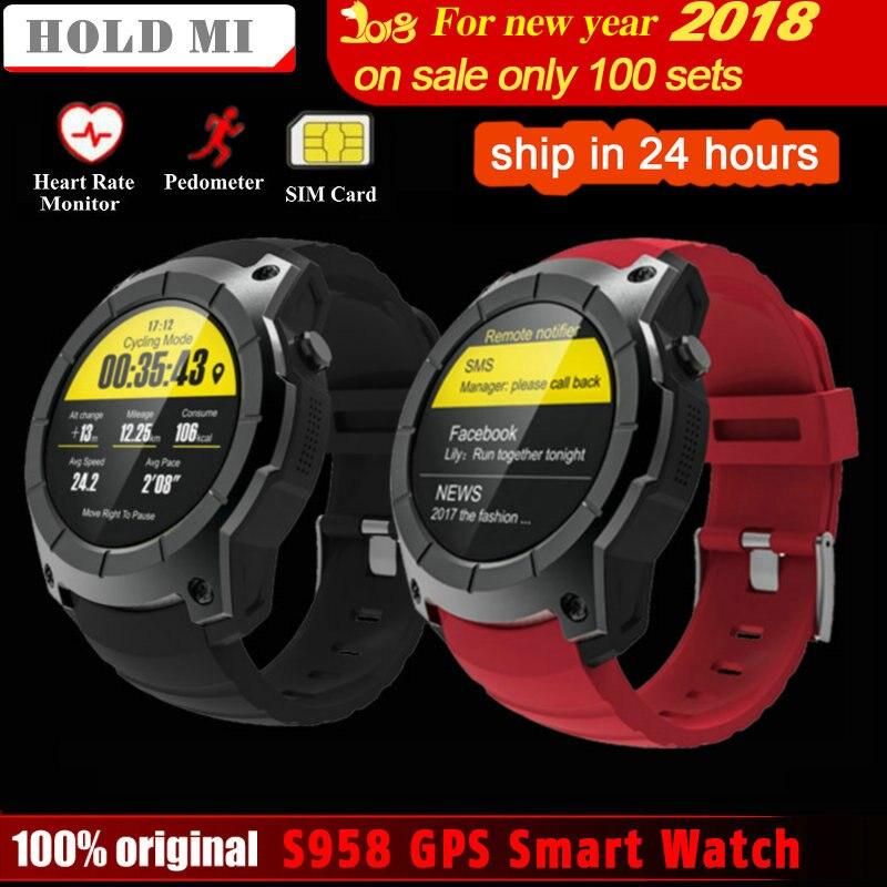 Segure Mi S958 GPS Relógio Inteligente Monitor de Freqüência Cardíaca Esporte à prova d' água Suporte Do Cartão SIM Bluetooth 4.0 Smartwatch para Android IOS telefone