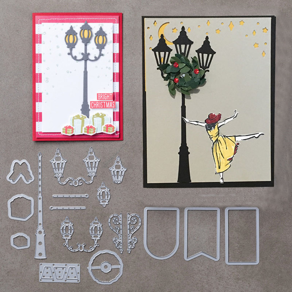 17PCS Brightly Lit <font><b>Christmas</b></font> Metal <font><b>Cutting</b></font> <font><b>Dies</b></font> <font><b>Stamp</b></font> Stencil for DIY Scrapbooking Photo Embossing Decorative Craft <font><b>Die</b></font> image