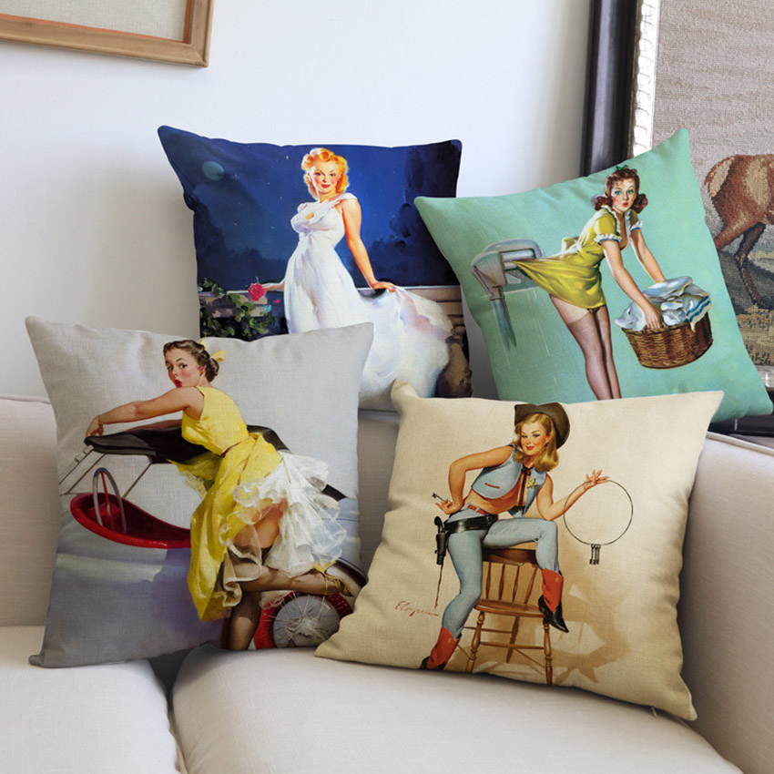Oil Painting Sexy Girls Cushion Cover Vintage Decorative Sofa Throw Pillows Cases Home Decor America Stylish Girls Pillow Cover